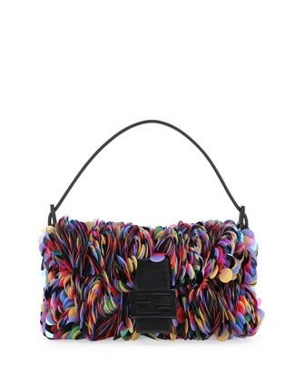 Baguette+Sequin+Paillettes+Shoulder+Bag,+Black/Multi+by+Fendi+at+Neiman+Marcus.