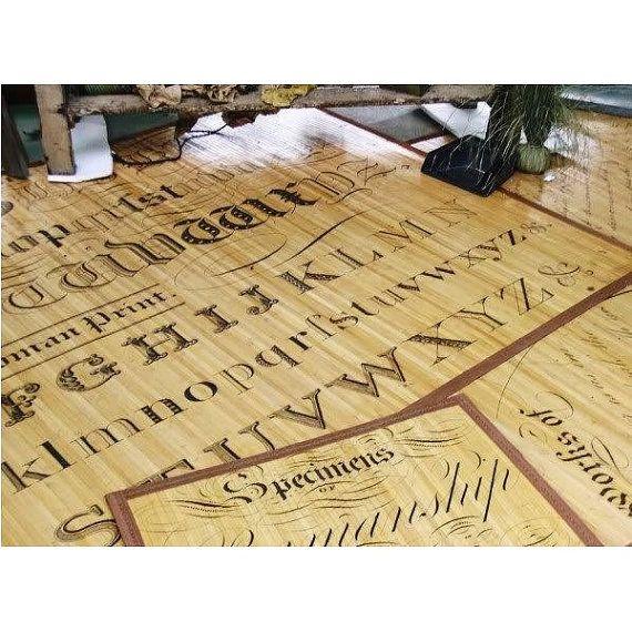 Bamboo Wood Floor Mat Tattoo Alphabet Print Rug by TimelessBarn