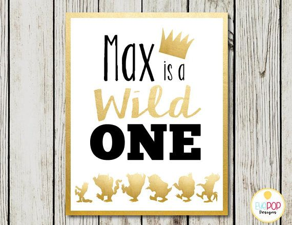 Where The Wild Things Are Party Printable Package, Wild One, Gold, Black, White, Party Decorations, Printables, Invitation + More!