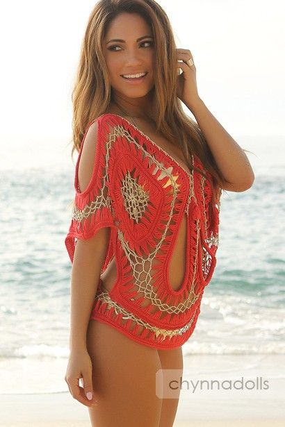 Red and Metallic Gold Knit Cover-Up