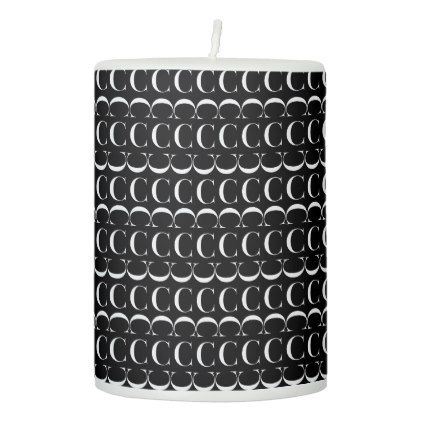 Monogram Initial Pattern Letter C in White Pillar Candle - monogram gifts unique custom diy personalize