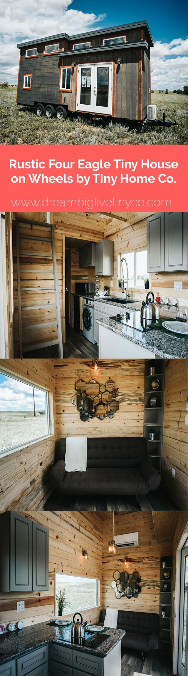 """Rustic """"Four Eagle"""" Tiny House on Wheels by Tiny Home Co."""