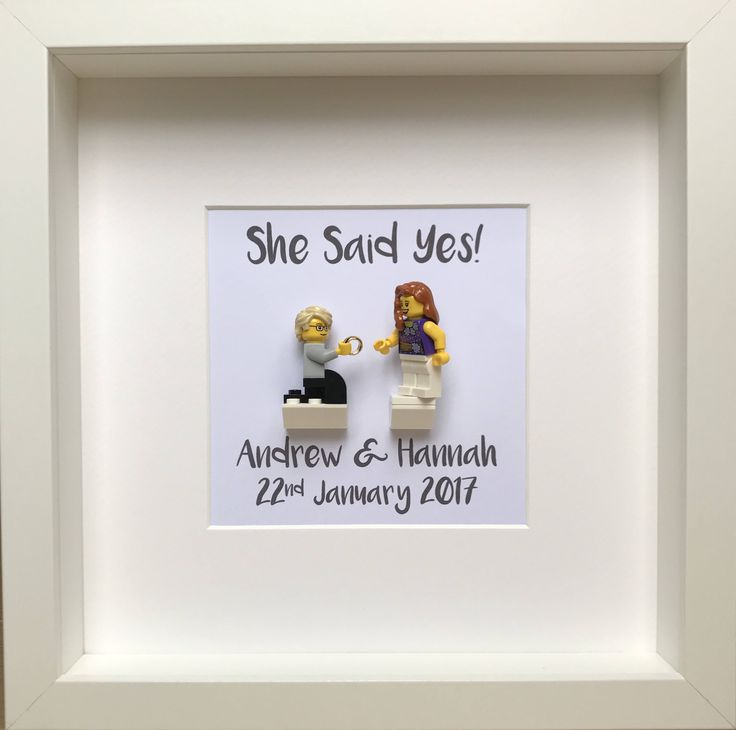 LEGO Personalised Engagement Gift with Customised Minifigures, Engagement Frame, Gift for the Couple by OurBrickLibrary on Etsy https://www.etsy.com/listing/526250968/lego-personalised-engagement-gift-with