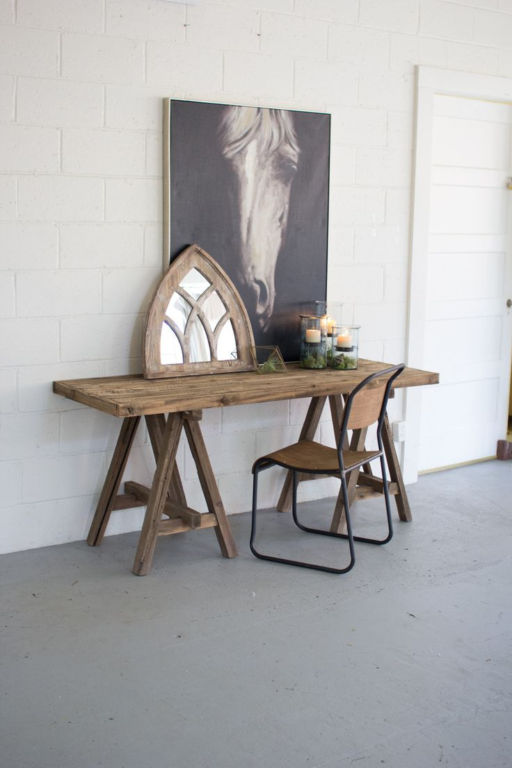 Recycled Wooden Console with Saw Horse Base