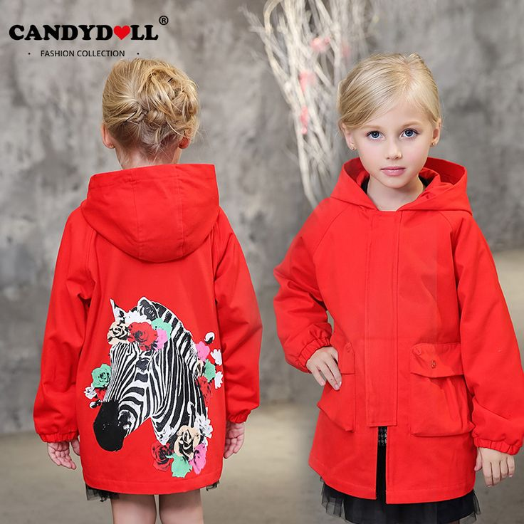 ==> [Free Shipping] Buy Best Candydoll Children Clothing Girls Trench Coats Cotton Outerwear Jackets Girls Europe American Style Trench Cartoon Print SAJ3121 Online with LOWEST Price | 32786757568