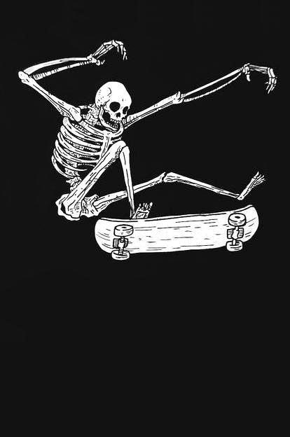 skateboarding skeleton -- art by baileyillustration