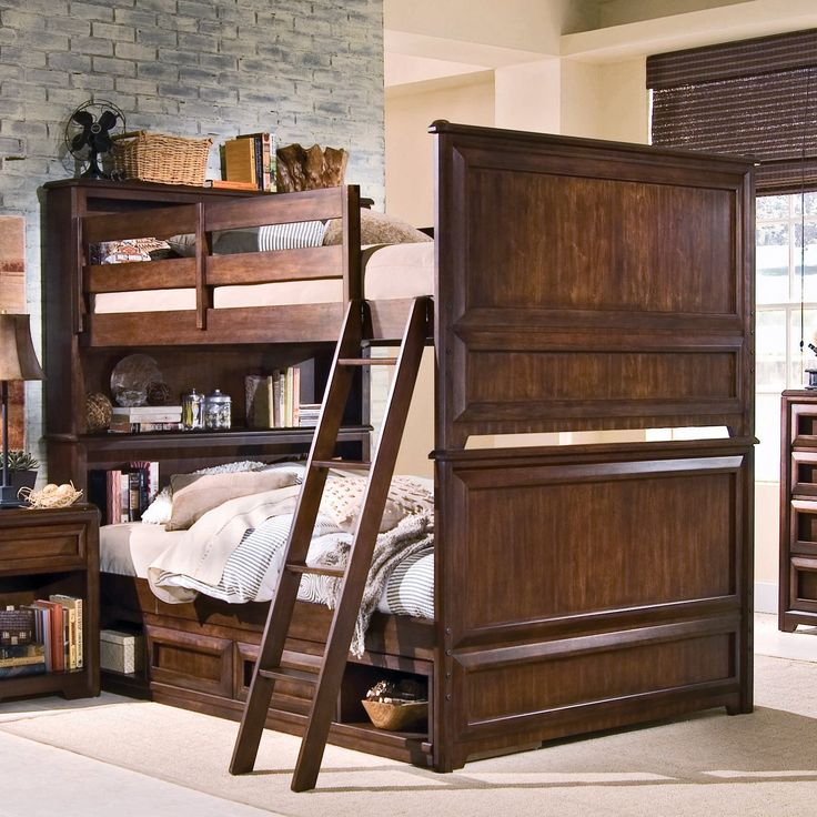 elite expressions bookcase full over full bunk bed crafted in a highend style this full size bunk bed is a prime choice for adding storage