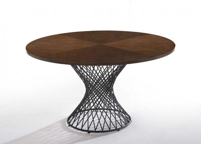 Modrest Theresa Modern Round Walnut Black Table Dining Table