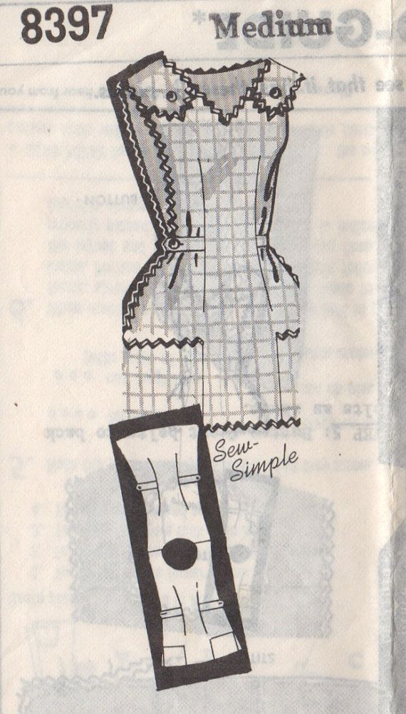 Mail Order 8397 1970s Pullover V Neck Cobbler APRON Pattern Sew Easy Womens Vintage Sewing Pattern Size Medium Bust 34 36 FF