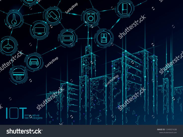 Internet of things low poly smart city 3D wire mesh. Intelligent building automation IOT concept. Modern wireless online control icon urban cityscape …