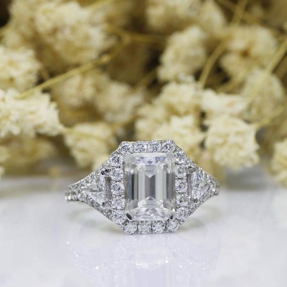 14k White Gold Over 2.00Ct Emerald Cut Solitaire Diamond Engagement Wedding Ring