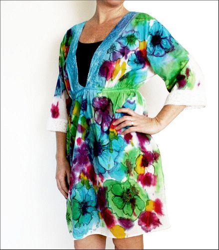 tie dye dress: Dresses Tutorials, Watercolor Techniques, Tunics Tutorials, Watercolor Dresses, Ties Dyes, Watercolor Tunics, Ties Dyed, Water Colors, Fabrics Dyes