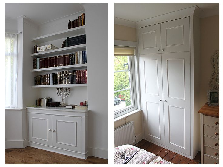 Fitted wardrobes examples in London, wardrobe interior design pictures, check our alcove units and bookshelves with cupboards and floating shelves