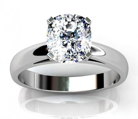 Cushion Cut Cathedral Style Engagement Ring Available in 14K, 18K and Platinum with Optional Matching Band