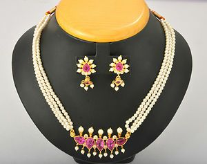 Mahrashtrian Traditional Design Pearl Necklace Set with Earring