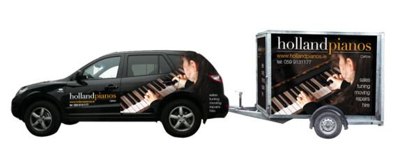 Striking vehicle graphics that create a great awareness for Holland Pianos and it is also a great tool for advertising your business on a daily basis. www.akgraphics.ie