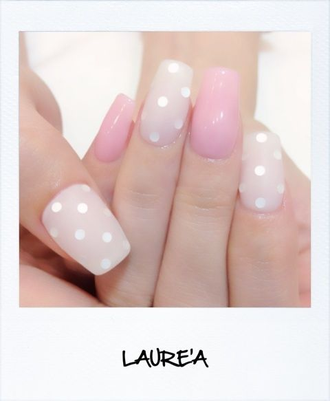 Jelly pink * white * dots * square shaped nails