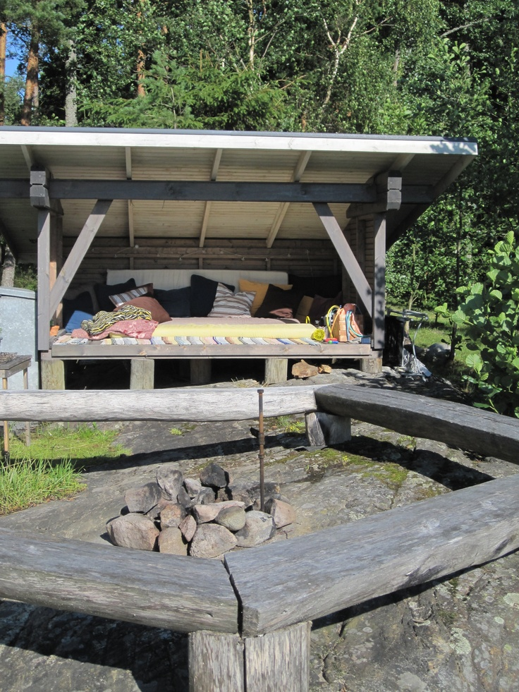We could build one of these nearer to the water? sunbath and shelter from the window.. could even add a mosquito net