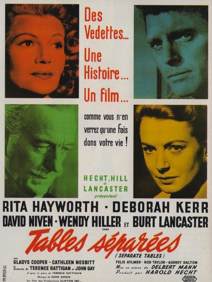 Separate Tables (1958), director Delbert Mann Replacing Vivien Leigh when her director husband Laurence Olivier quit the project, Hayworth scores highly as the fading ex-wife of Burt Lancaster (who produced the film), whose unexpected arrival at an unobtrusive hotel unsettles a series of pained relationships. Terence Rattigan's sensitive play survives surprisingly intact thanks to (almost) uniformly well-pitched performances, especially Hayworth and Oscar-winners David Niven and Wendy…