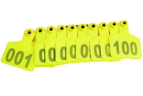 Pack of 100 Yellow Cattle Ear Tag with Words From 001 to 100  ★SUPERIOR READABILITY:Easier to read from front or back.  ★NON-FADE NUMBERS:Exclusive Laser printing guaranteed for the life of the animal.  ★FOOL-PROOF ONE-PIECE DESIGN:Back of tag will not snag and pull out or break off.  ★EXCLUSIVE SELF-PIERCING TIP:Clean, precise incision helps prevent infection&disease transfer.  ★SIZE INFORMATION:Length of the tag :approx. 60mm/2.36inch,Width of the tag:75mm/2.952inch.