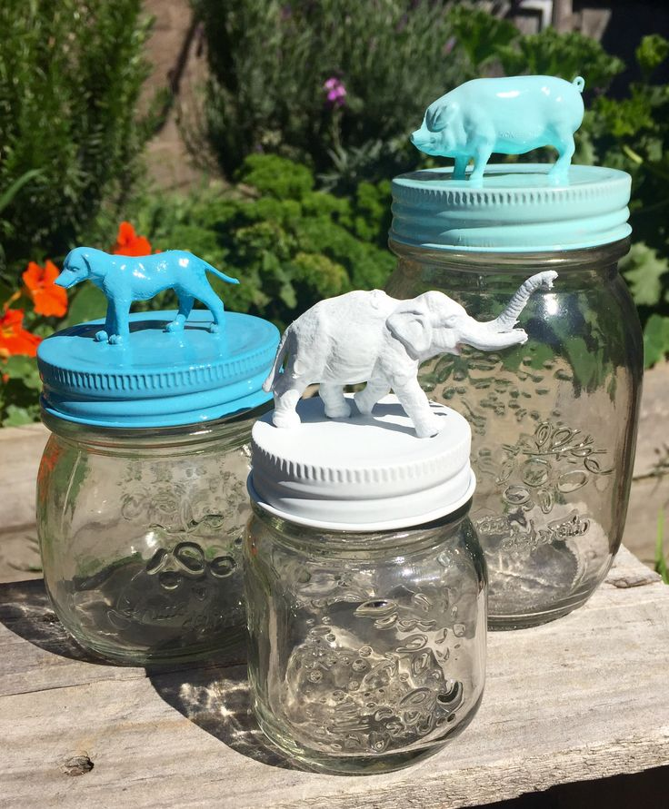 Painted animal jars by Curious Imaginings. Available soon on my Etsy store.
