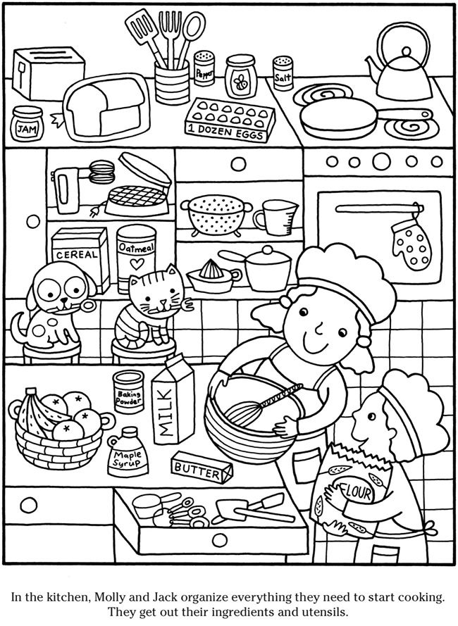 Colouringin page Sample page from 'Color & Cook Story