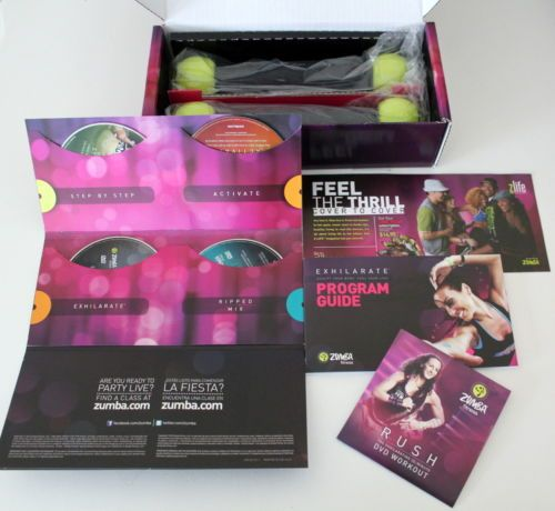zumba fitness exhilarate exercise 5 dvd set toning shaker weights you missed it sold. Black Bedroom Furniture Sets. Home Design Ideas