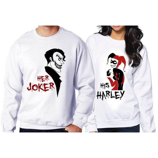 Personalized Couples Joker and Harley Quinn Sweatshirts Customized... ($50) ❤ liked on Polyvore featuring black, sweatshirts, women's clothing, crew-neck sweatshirts, crew neck sweat shirt, crewneck sweatshirt, sweat tops and black crew neck sweatshirt