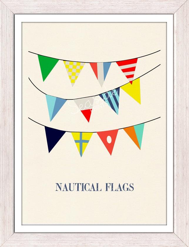 Nautical code flags 3 - Vintage Yachting Print - Pennants