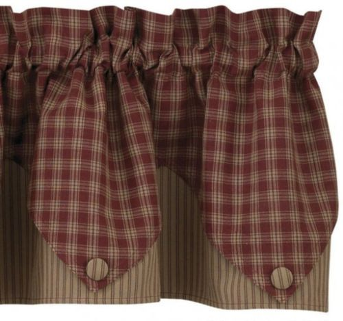 Country Primitive Burgundy Plaid Pointed Ticking Valance Cottage Homespun Cabin | eBay