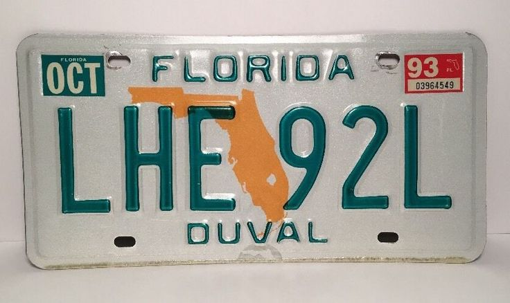 FLORIDA LICENSE PLATE Tag LHE 92L Duval County 1993  | eBay