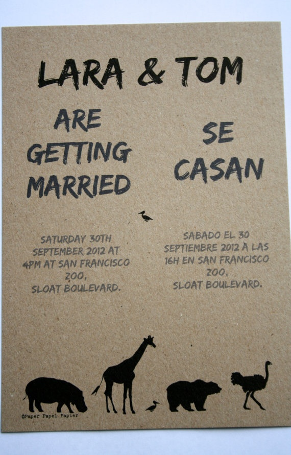 Zoo wedding invitations on recycled paper Half