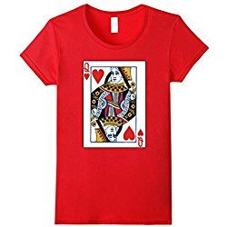 Women's Valentines Day Gifts - Queen of Hearts Cards Couple T Shirt Medium Red