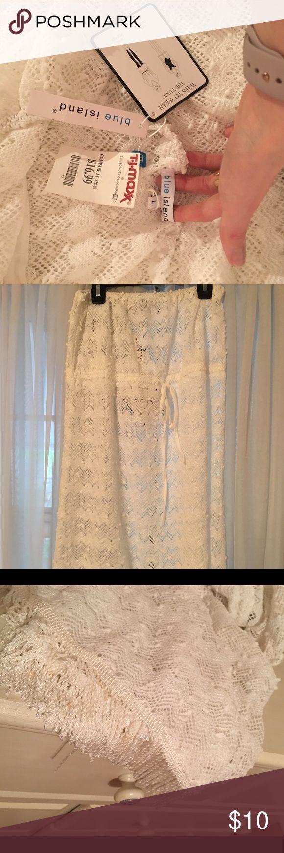 Fringe Bathing Suit Coverup NWT!! White strapless bathing suit cover up with fringe detail on the bottom! Fits Small-Large! Swim Coverups