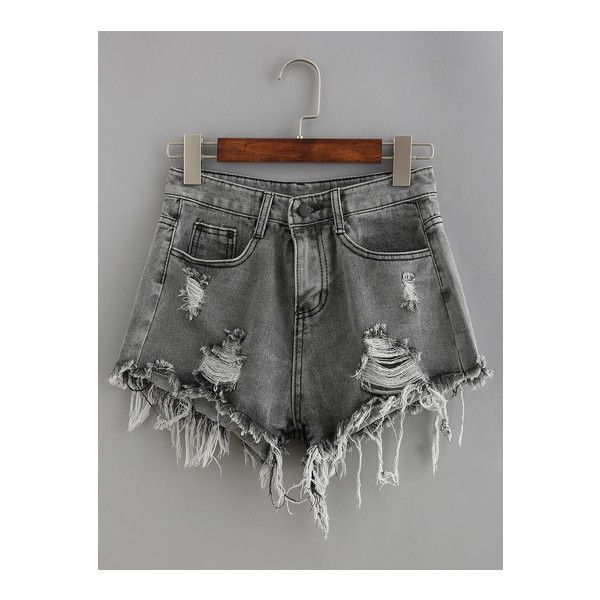 Frayed Grey Denim Shorts ($15) ❤ liked on Polyvore featuring shorts, gray shorts, patterned shorts, summer shorts, denim short shorts and print shorts