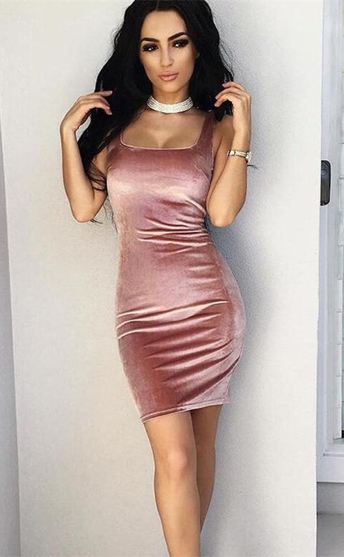 a73afed21b0 Pink Square Neck Velour Bodycon Dress in 2019