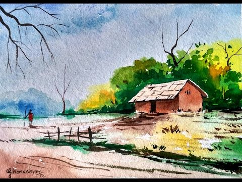 Watercolor Landscape Tutorial | How to paint a watercolor landscape  | Paint with david | - YouTube