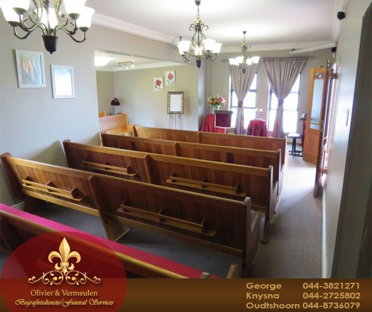 Our friendly staff at Olivier & Vermeulen will handle all your funeral arrangements on your behalf. Our service includes a chapel that can seat 50 people and a tea garden. #funeral #chapel #grief