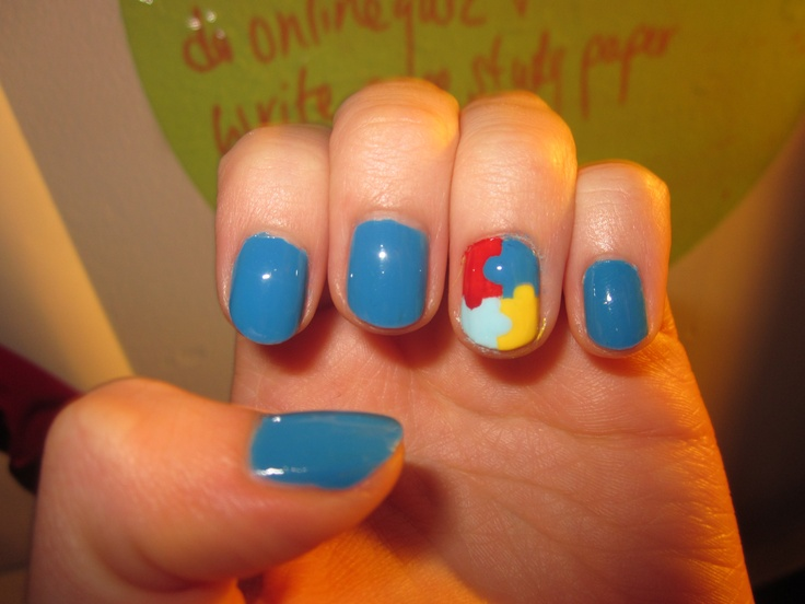 Blue nail art for autism awareness piggieluv blue roses for autism view images autism awareness nail art prinsesfo Images