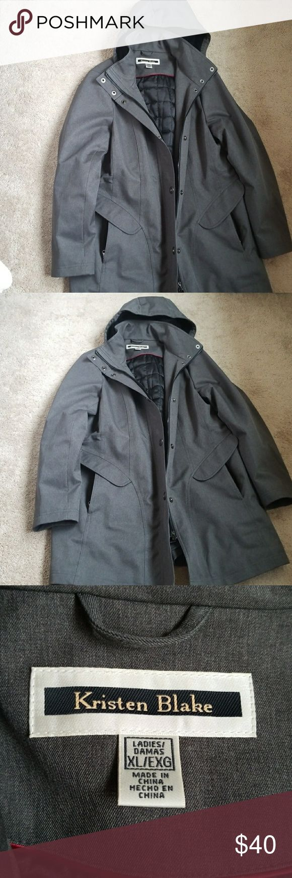 Women's Rain Coat Great rain coat! It has zipper pockets, with zipper and snap closure down the front. The hood is removable and is lined with a soft fabric, also adjustable to tighten around the face. The coat is adjustable around the waist. Excellent condition. Kristen Blake Jackets & Coats Trench Coats