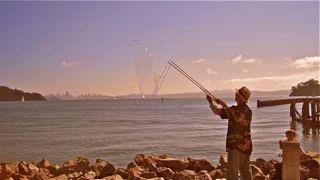 Man blowing bubblies in Tiburon