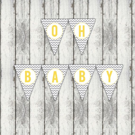 oh baby baby shower banner chevron baby shower banner yellow and grey banner