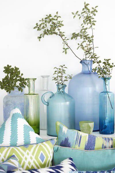 Frosted glass bottle vases