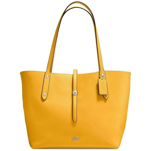 COACH Polished Pebbled Leather Market Tote ($221) ❤ liked on Polyvore featuring bags, handbags, tote bags, handbag purse, man bag, coach tote, handbags totes and yellow purse