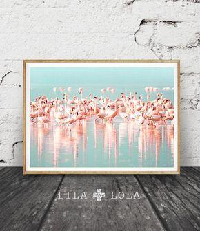 Kunst-tropischen Wand-Dekor, Flamingos-Druck, Schwarm Vögel, modernen Farbfotografie, Pink und blau, Pastell Wasser, druckbare sofortigen Download