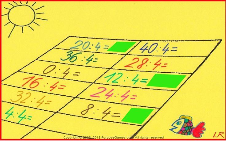 Delenie číslom 4. Vieš deliť číslom 4? Máš na to 11 minút. Priraď k výsledku príklad. http://www.purposegames.com/game/1438146388