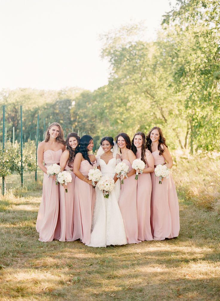 Soft, pink full-length bridesmaids gown | Photography: Jen Lynne Photography - jenlynnephotography.net  Read More: http://www.stylemepretty.com/2014/06/20/blush-gold-orchard-wedding/