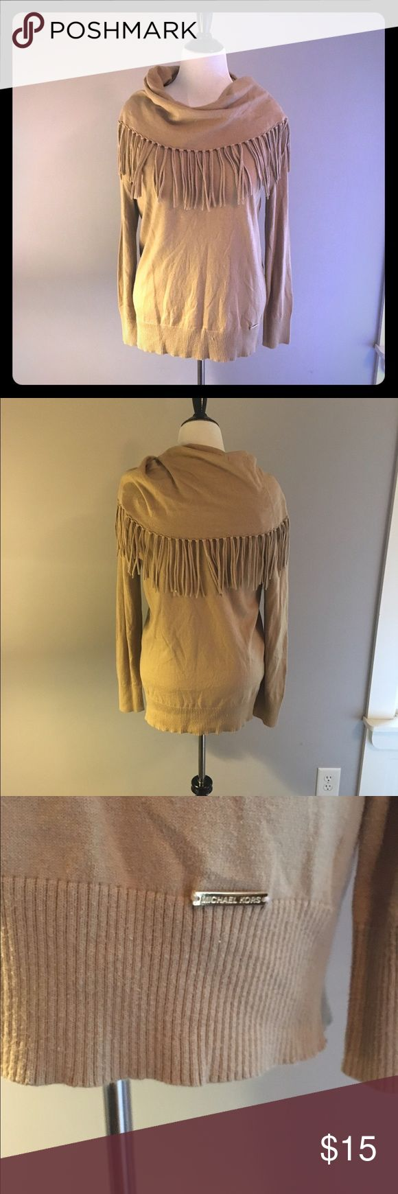 Michael Kors Fringe Sweater Michael Kors Fringe Sweater in XL. Camel color. So cozy. Tunic length so works great with leggings and boots. Gently used with lots of life left. Michael Kors Sweaters