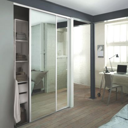 White Sliding Mirror Wardrobe Door Kit Including Track Set And Interior Shelf And Rail Unit, 0000003896662