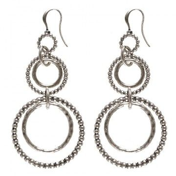 Hultquist-Copenhagen Whoop Whoop Multi Hoop Earrings  Chic with an elegant edge are these silver plated multi hoop earrings from Hultquist-Copenhagen.  These drop earrings feature five drop hoops in various sizes with alternating finishes.  Suitable to wear day or night - a must have for your Summer wardrobe.